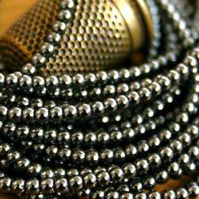 "40 Perles Rondes ""HÉMATITE"" Ø 2 mm  GRIS ANTHRACITE"