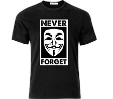 Guy Fawkes Never Forget T Shirt Black