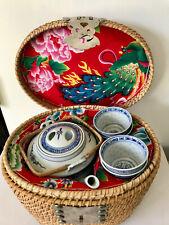 Vintage Chinese Travel Tea Set Basket, Wedding Basket Chinese Blue White Teapot