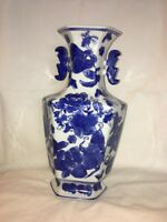 Oriental Chinese Porcelain Ceramic Vase Blue and White Flowers Hand Painted