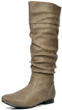 DREAM PAIRS Women's BLVD Flat Calf Pull On Fall Weather Casual Knee High Boots