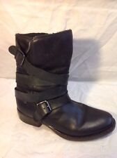Blink Black Mid Calf Leather Boots Size 39