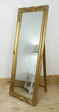 """Isabella Gold Shabby Chic Full Length Antique Cheval Mirror 60"""" x 22"""" X Large"""