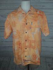 Columbia River Lodge Mens Hawaiian Shirt Short Sleeve Orange Fish Print Size L
