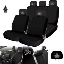 New Black Car Truck SUV Seat Covers Lotus Design Full Set with Gift for Subaru