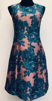 BNWT New Rrp £89 Monsoon Jules Teal Pink Gold Floral Shift Dress Size 14