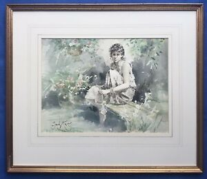 Original Art Watercolour Painting Pretty Girl Female Day Dreamer By Gordon King