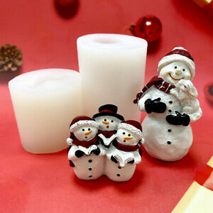 Christmas 3D Snowman Silicone Cake Fondant Mold Wax Soap Candle Making Mould DIY