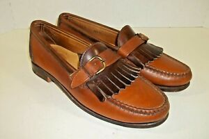 FOOTJOY Loafers Kiltie Strapped 10C Two Tone Brown Luxury Leather Dress Shoes