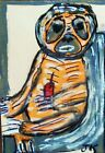 OUTSIDER ART ACEO PAINTING BY JAN K 'SLOTH OR ALIEN?' SIGNED ORIGINAL