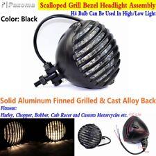 Black Retro Motorcycle High Low Beam Head Light Lamp For Chopper Bobber Rat Rod