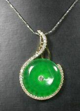 Gold Plate Green JADE Pendant Music Circle Necklace Diamond Imitation 100591