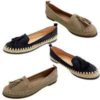 Kelsi Ladies Suede Loafers Black Beige Espadrilles Moccasins  Flat Summer Shoes