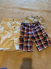 Gymboree Hawk Boys Shorts Sz 6 Khaki Adjustable Waist Uniform Plaid Lot Of 4