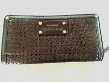 Kate Spade Wallet Black Leather Perforated Red Lining Gold Studs Ret $250+tax
