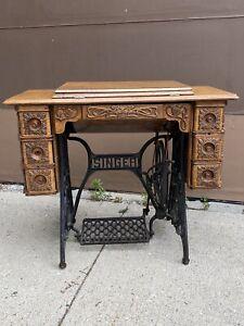 Antique Singer Treadle Sewing Machine With Fantastic Ornate Oak Cabinet Refinish