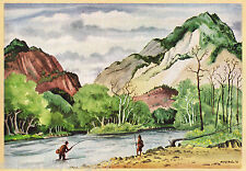 Couple FISHING in ROCKY MOUNTAIN Stream Nature Scene Vintage 1946 MATTED Picture
