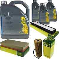 Inspektionspaket 8L Mercedes Öl 229.5 5W40+ MANN Filterpaket 11132242