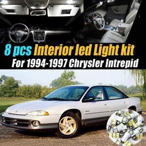 8Pc Super White Car Interior LED Light Bulb Kit for 1994-1997 Chrysler Intrepid