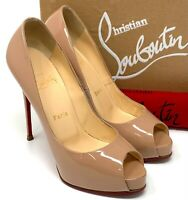 Authentic Christian Louboutin Open Toe Sandals Heels #37.5 US 7.5 Beige Rank AB