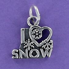 I Love Snow Charm Sterling Silver for Bracelet Heart Snowflake Ski Snowboard