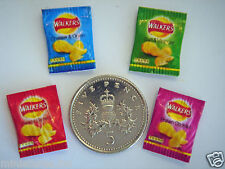 DOLLS HOUSE MINIATURE WALKERS CRISPS 4 PACKETS / FLAVOURS Handmade 1:12th Scale