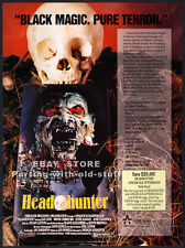 HEADHUNTER__Original 1989 Trade AD / horror movie promo__KAY LENZ__JUNE CHADWICK