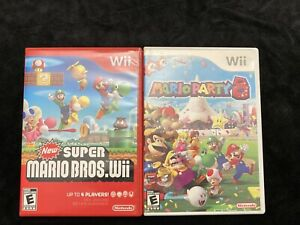 Tested Nintendo Wii Video Game Lot Mario Party 8 & New Super Mario Bros. Wii