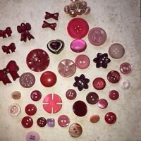 Vintage Lot Of 46 Red and Pink Plastic Buttons Carved Bows Pearl Crafts Sewing