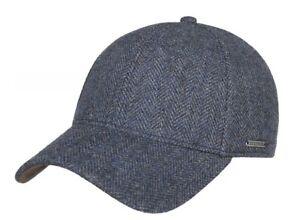 Stetson Eu Wool Hereingbone Ball Cap M Medium 57 Blue Black NWT Baseball Fitted