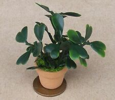 1:12 Scale Plastic Light & Dark Green Plant In A Pot Dolls House Garden CB2