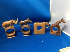 New listing Hand Carved Wooden Animal Napkin Rings