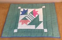 Patchwork Quilt Wall Hanging, Carolina Lily, Green, Blue, Pink, White Solids