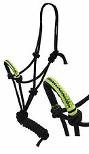 Showman Cowboy Knot Rope Halter w 7' Lead & Lime Nylon Wrapped Diamond Noseband