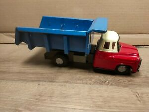 Red and White Old Tin Toy Dump Truck - Made in Japan