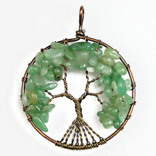 Natural Aventurine Chip Beads Tree of Life Copper Round Pendant Fit Necklace DIY