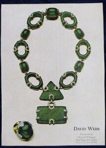 Vintage 1974 DAVID WEBB Precious Jewels Green Necklace Pendant Print Ad
