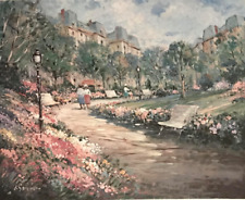 Vintage Impressionist L Gordon City Park Garden Signed Numbered Lithograph #S408