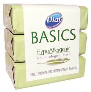 Dial Basics HypoAllergenic Dermatologist Tested Bar Soap 3.2 oz [3 Bars per pk]
