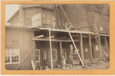 Real Photo Postcard RPPC - Construction Workers Repairing or Adding to Store