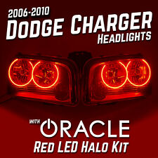 2006-2010 Dodge Charger LH RH Headlights - ORACLE Red LED SMD Halo Kit Installed