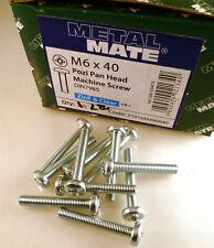 M6 40mm Steel Pozi No.2 Pan Head Zinc Machine Screws 10 Pieces MBE007M