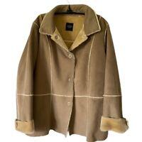 SANYO Womens Jacket Coat Brown Patchwork Buttons Fur Trim Collar Winter XL
