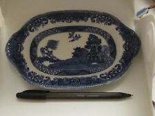 victorian meat platter willow pattern blue and white quaint small size - Fenton