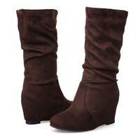 Brown Ladies Mid Calf Slouch Boots Casual Hidden Wedge Heel Slip on Winter Booty