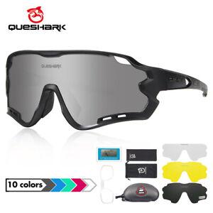 Queshark MTB Bike Glasses Men Polarized Cycling Sunglasses with 4 lens QE44