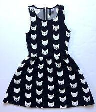 H&M Divided Cat Print Mini Dress Tank Flare Size XS Black White