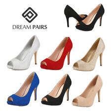 DREAM PAIRS Women Slip On Pump Shoes Stilettos High Heel Peep Toe Pump Shoes