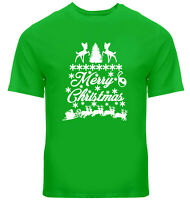 Santa Reindeer Sleigh Ride Merry Christmas Gift Mens Women Unisex Tee T-Shirt