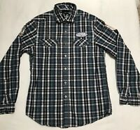 Marc Ecko Cut And Sew Long Sleeve Button Front Plaid Shirt Size Medium
